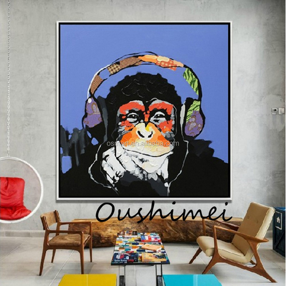 Hand Painted Monkey Oil Paintings Modern Abstract Animals Pictures Home Decor Hang Paintings Wall Art Picture
