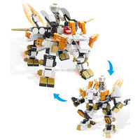 HSANHE guangzhou interlocking plastic model Car Transform Robot building blocks toys