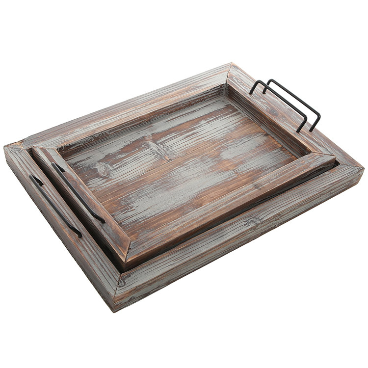 Rustic style White and brown color vintage serving wood tray with steel handle