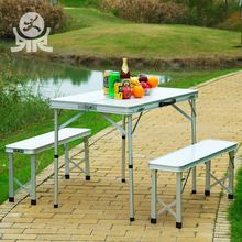 Easy used outdoor square long bench aluminium folding study table and chair