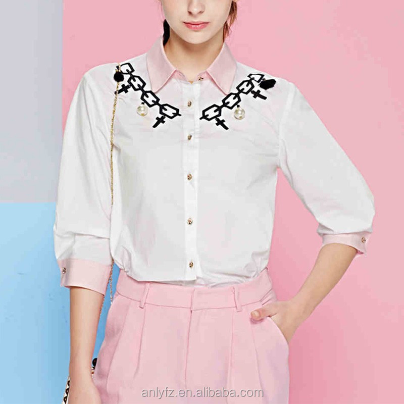 Spring clothing women's fashion embroidery straight three quarter sleeve white shirt