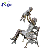 New products bronze mother and children statues on bench NTBS-460Y