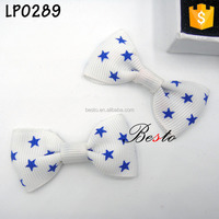 3Inch fashion bow tie with star print long needle brooches pin for wedding accessory
