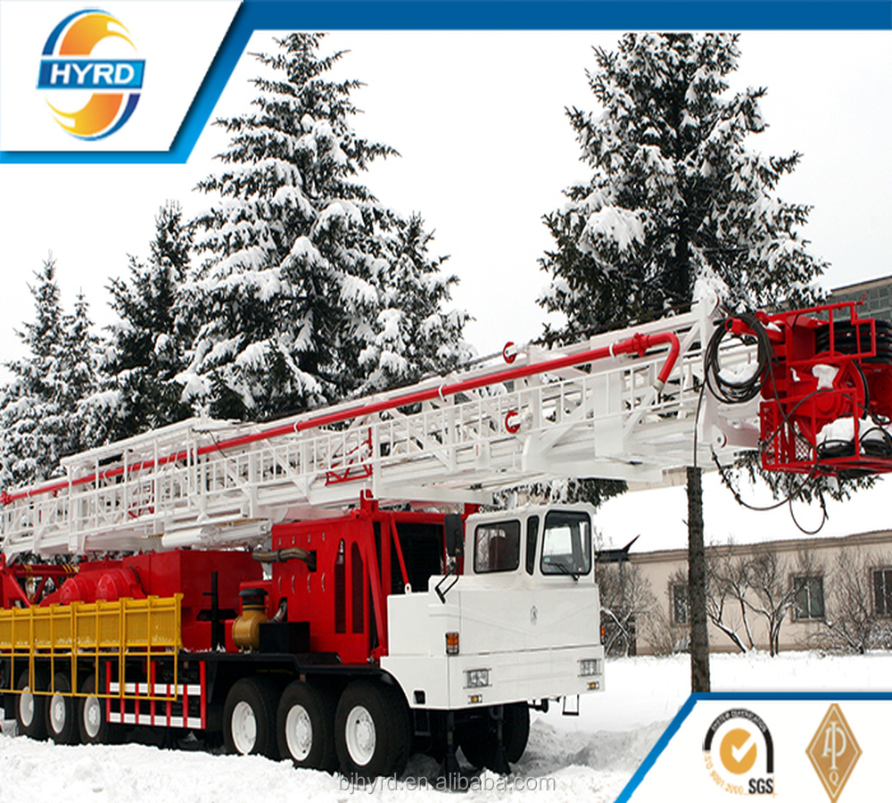 XJ350 miltifunctional mobile truck drilling workover rig for oil field