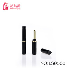 Small oblique mouth empty plastic slender black lipstick tubes for makeup packaging
