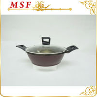 Royalty line die cast aluminum cookware 24*9cm cooking pot with unique design of lid knob MSF-6167
