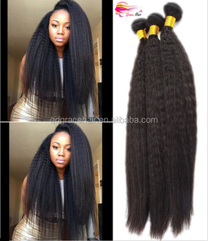 High quality virgin remy kinky straight yaki hair weave