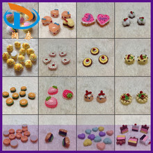 Wholesale Mixed Color Kawaii Heart Flat Back Resin Crafts Dessert Food Cake Cabochons