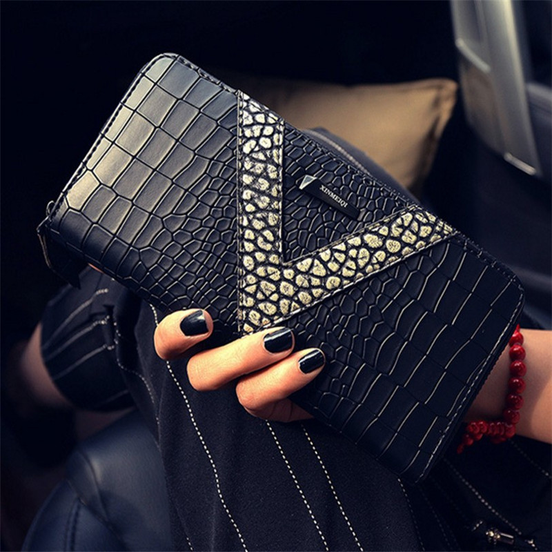 fashion korean style high quality large capacity crocodile grain lady purse cheap long women wallet