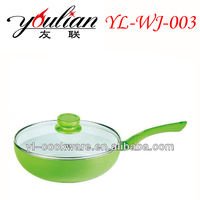 2015 High quality aluminum non-stick ceramic green Indian Kadai