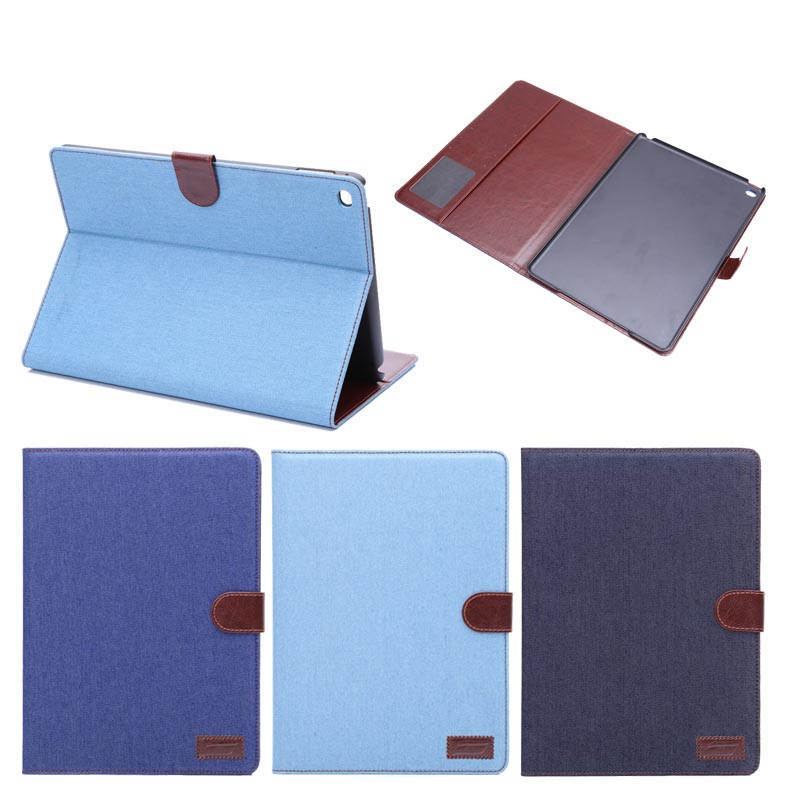 Jeans folding stand leather case for ipad air 2