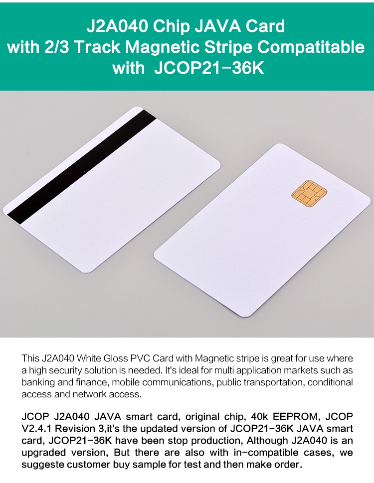 Silver JAVA Card J2A040 Jcop Card with Hi-co Magnetic Stripe
