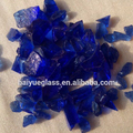 F-blue crushed glass chips.