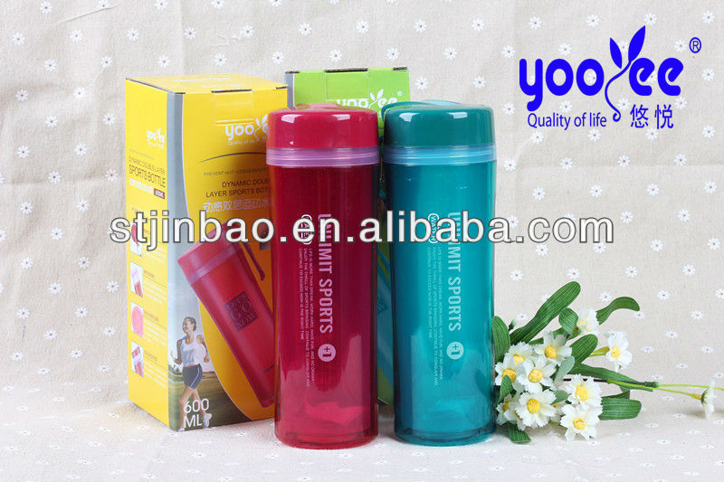 (NEW)food grade PP 600ml insulated plastic sports bottle with hangging ring
