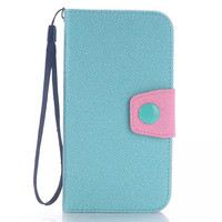 Mobile Phone Wallet Leather Case For Samsung Galaxy S6 G9200 Protective Stand Cover case With Card Slot And Rope Lanyard