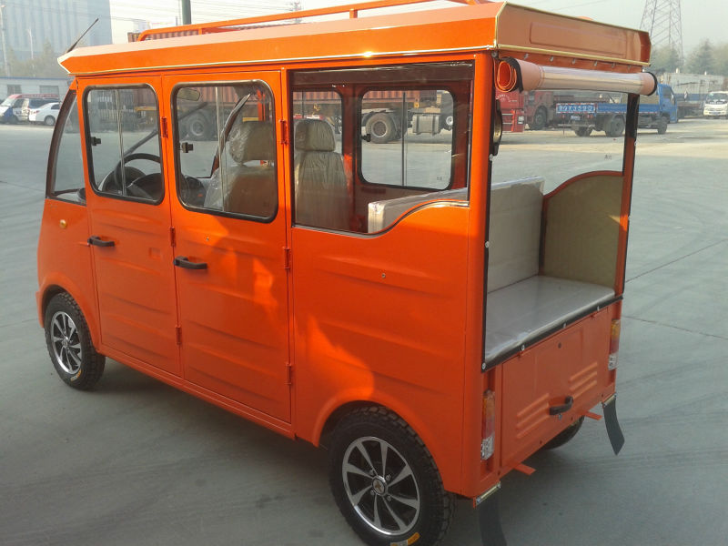 Back to back seat hybrid electric tricycle for 6 passengers