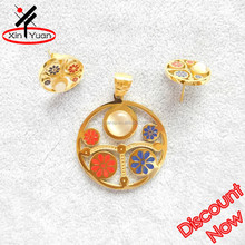 enamel stainless steel gold plated jewelry set in latest design