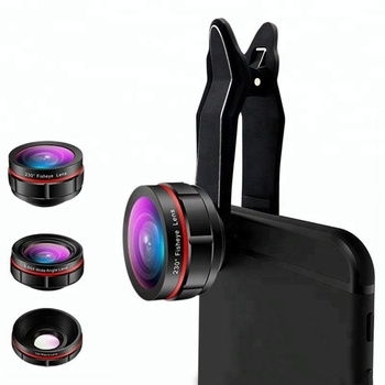 3 In 1 Aike hot selling clip aluminium optical mobile fisheye wide angle macro cellphone camera lens