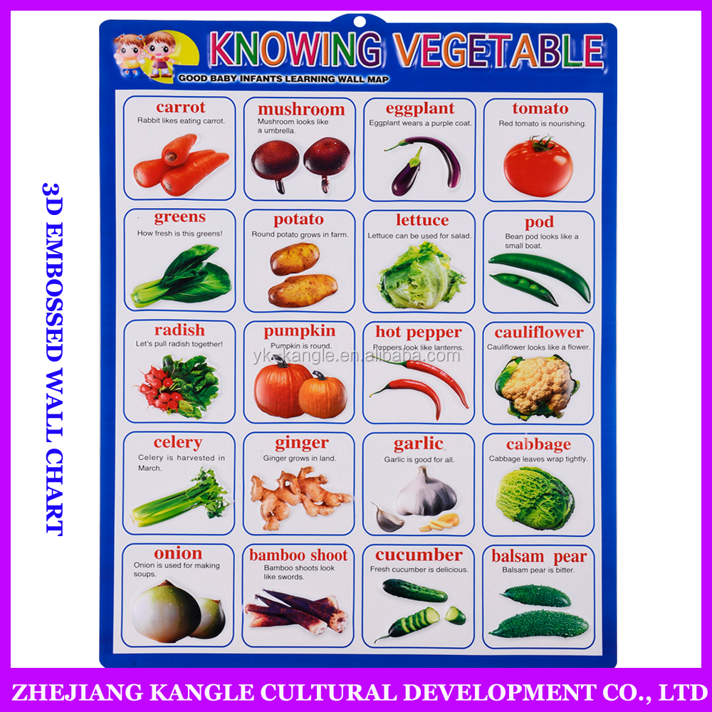 Vegetable and fruit wall chart for children pronunciation hanging charts educational wall charts early education