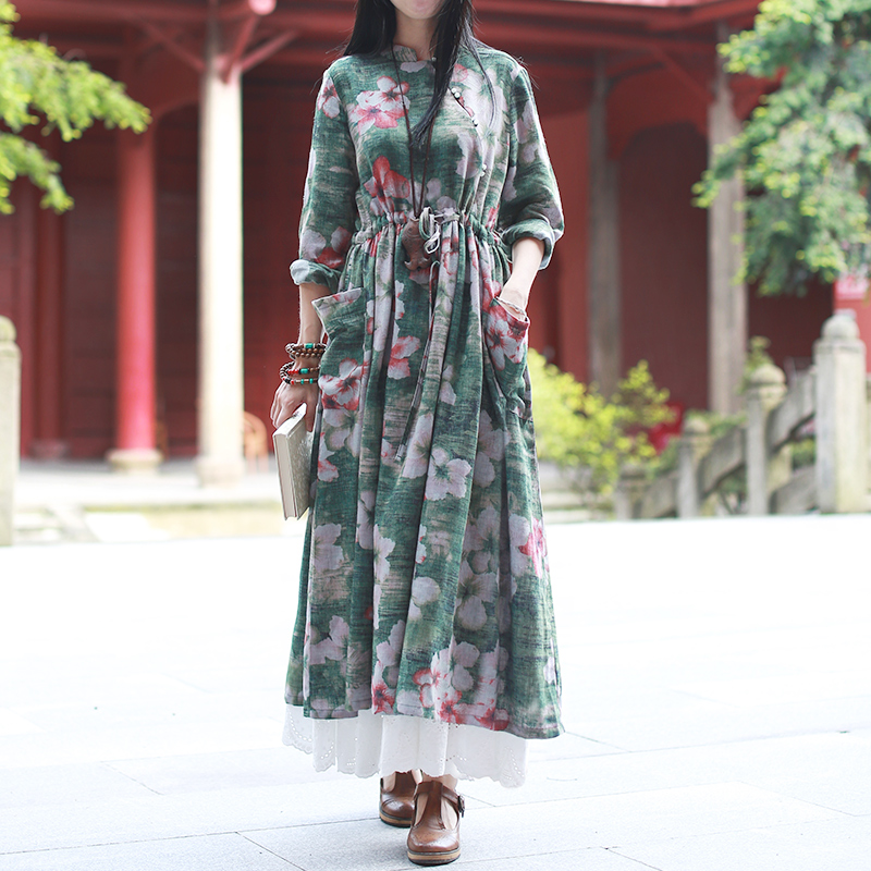 2017 New Arrival Women Clothing Autumn Nine Points Sleeve Pleated Long Unique Design Dress