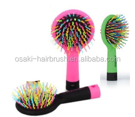 new mould cute plastic hair brush with mirror , rainbow lowest price rubber finished hair brush china suppliers