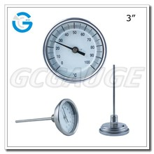 High Quality 80mm back connectionindustrial bimetallic dial thermometer