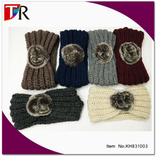 Top Quality Wool Headwear Lady Winter Warm <strong>Headband</strong> with Rabbit Fur Pom