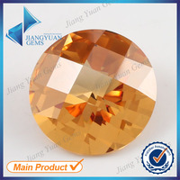 Round checkerboard cut champagne fake gemstone