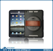 Leather Hand Strap Touchable Screen Rotating Rugged Hybrid Armor Case for iPad Air