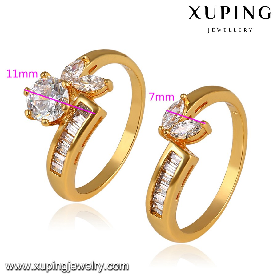 14113 wedding ring set, xuping wholesale cubic zirconia gold plated diamond double ring