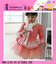 Fashion Hot Lace Sunshine Girl Dress New Red Lace Collar Keep Warm Lovely Cocktail Dress For Children