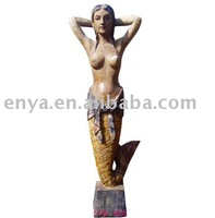 wood carved statue, mermaid sculpture