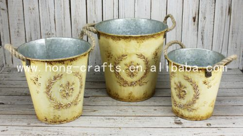 Vintage/Rustic/ Shabby chic metal flower bucket with linen handle