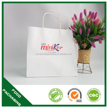 Nice grade superior quality take out bag, disposable bag with twist/flat handle, take out bag with logo printed