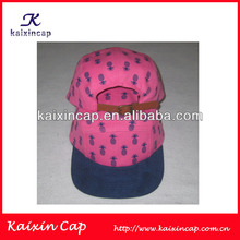 hot pink 5 panel cap with navy blue pineapple logo / leather strap cap hat / hop pink hat
