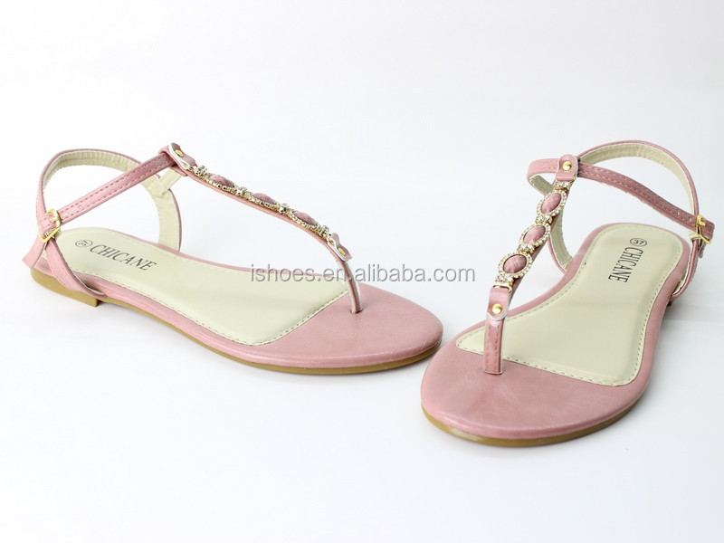 latest ladies fancy T strap beaded flat summer sandals