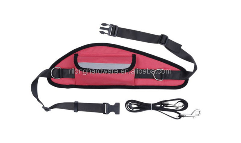 Rose Red Hands Free Dog Leash with Waist Bag DP-CY5