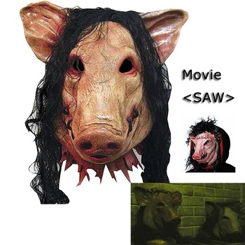 Pig head latex mask Halloween mask head costume rubber halloween fashion party mask from the movie SAW