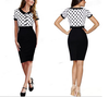 New Style Thin Fashion Women Elegant Short Sleeve Small Dot Split Joint High-end Charming Casual Bodycon Pencil Dress