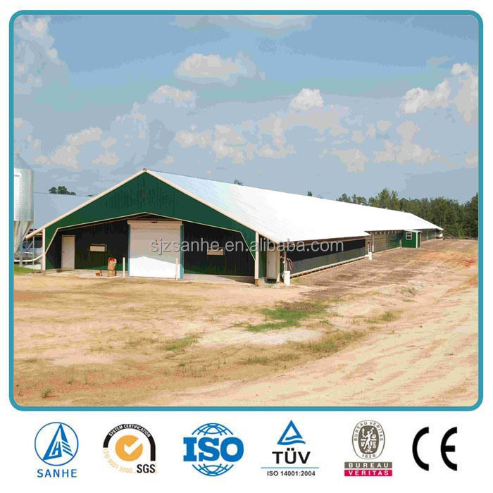 Low-price poultry farm house design/Prefab Steel Structure Cow Shed/Goat shed