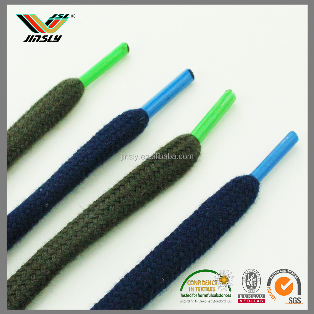 Newest shine shoelace drawstring elastic cord with metal tip wax polyester cord