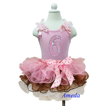 Birthday Outfits Girls Age 6 - Sleeveless Shirt Tank Top Number & Tutu Mini Skirt Pink Brown White 1-7 Years
