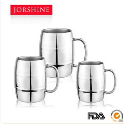 insulated stainless steel barrel beer mug,beer glass ,double wall thermal mug stainless insulated coffee mug cup