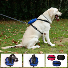 Portable Large Nylon Dog H style Harness Leash with Pocket