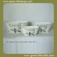 Garden black and white ceramic flower pot