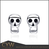 CYW 2015 online shop rhodium plated skull silver 925 earrings wholesale