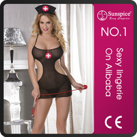 2015 Sunspice best price top quality plus size lace sexy girls photos open hospital nurse women leather sexy lingerie