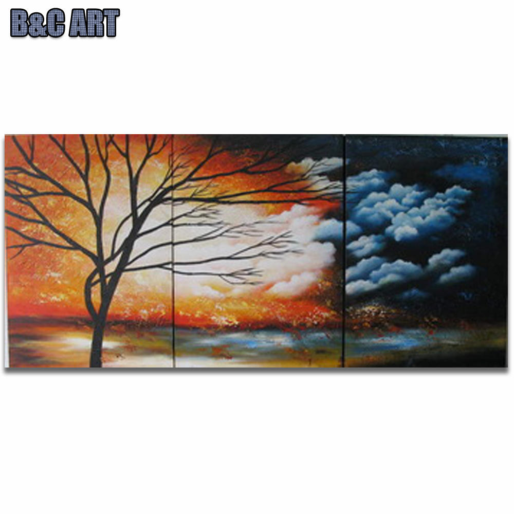 3 Piece Modern Impressionist Tree Group Canvas Art African Landscape Oil Painting for Home Deoration