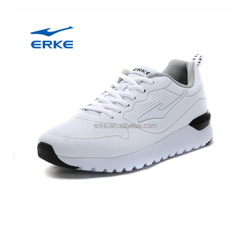 ERKE wholesale brand 2017 simple design white black PU running sports shoes for man
