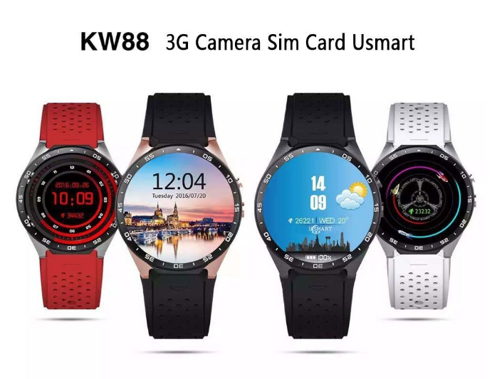 "2016 New 3G GPS WiFi Smart Watch KW88 1.39"" IPS MTK6580 Quad Core Android 5.1 Bluetooth 4.0 Smart watch with Heart rate monitor"